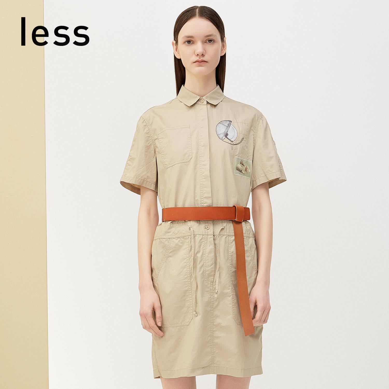 less2018夏装新品 休闲抽绳系带衬衫领短袖连衣裙27351088
