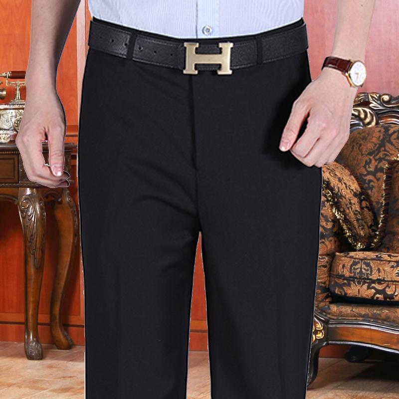 男士商务正装中年西裤男直筒中青年中腰西服裤宽松上班黑色西装裤