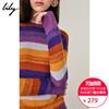 Lily2018秋新款女装彩色条纹宽松圆领长袖毛针织衫118339B8919
