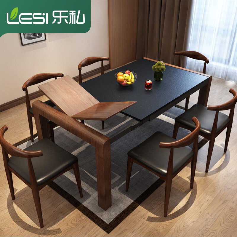 乐私火烧石伸缩餐桌椅组合现代简约可折叠大理石家用饭桌餐厅家具