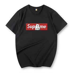 短袖T恤男士韩版圆领青少年男生加大码休闲印花打底衫体恤衣服潮