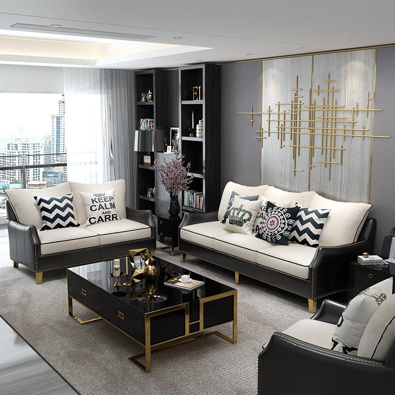 北欧轻奢小户型布艺沙发 简约现代真皮美式风格皮布沙发组合家具