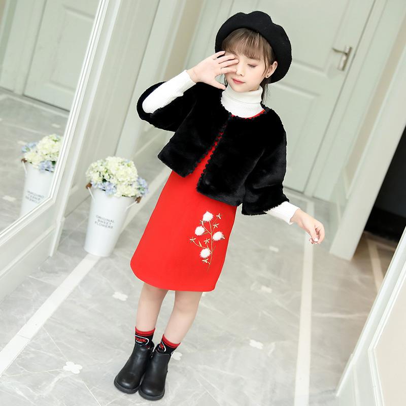 女童洋气毛呢套装秋冬款套裙仿皮草儿童呢大衣背心裙子时髦两件套