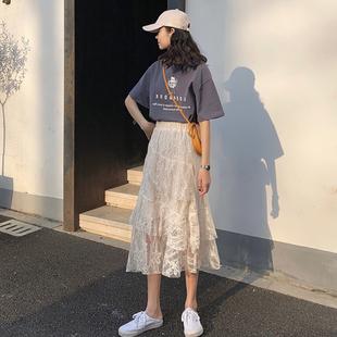 早春夏季新款蕾丝不规则蛋糕高腰半身裙学生ins韩版学院风杏色潮