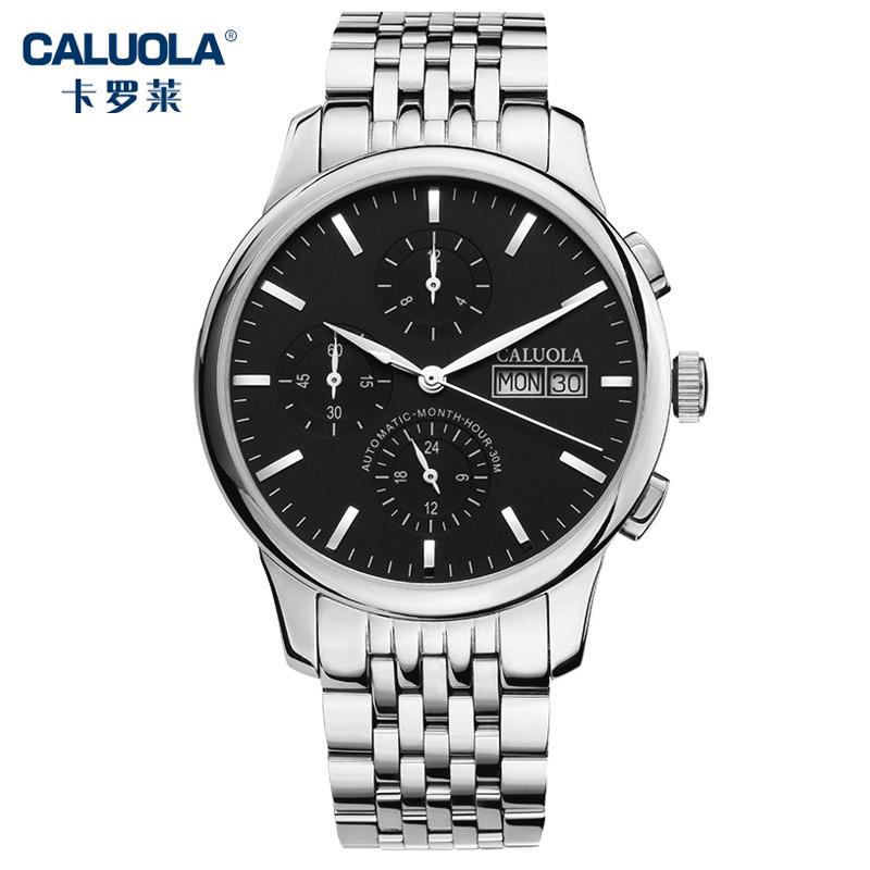 卡罗莱男士手表男表六针全自动机械表钢带休闲正品防水腕表CA1057