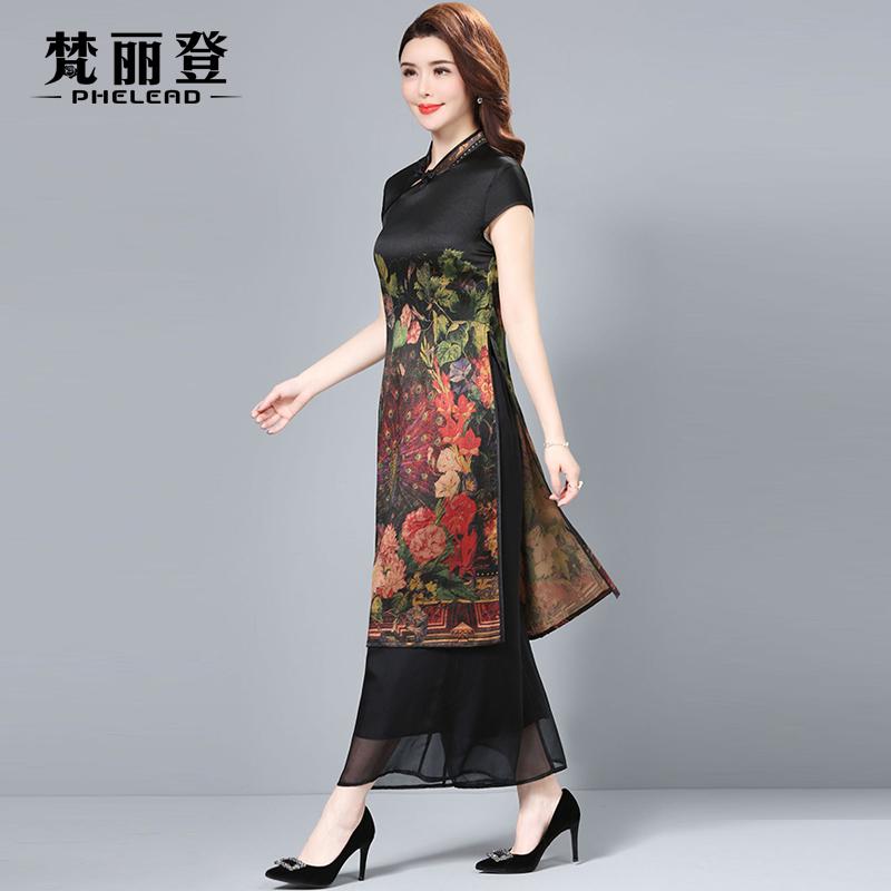 2018夏装新款大牌修身显瘦气质复古改良旗袍裙两件套真丝连衣裙女