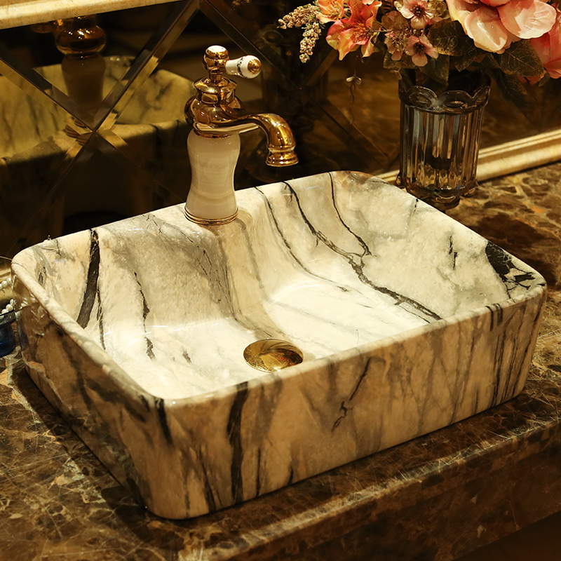 Imitation of marbling square European archaize ceramic stage basin bathroom wash a face to the balcony sink basin of art