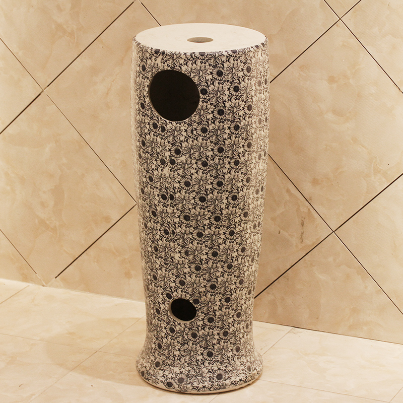 Jingdezhen ceramic balcony column basin one - piece toilet stage basin sinks household lavabo console