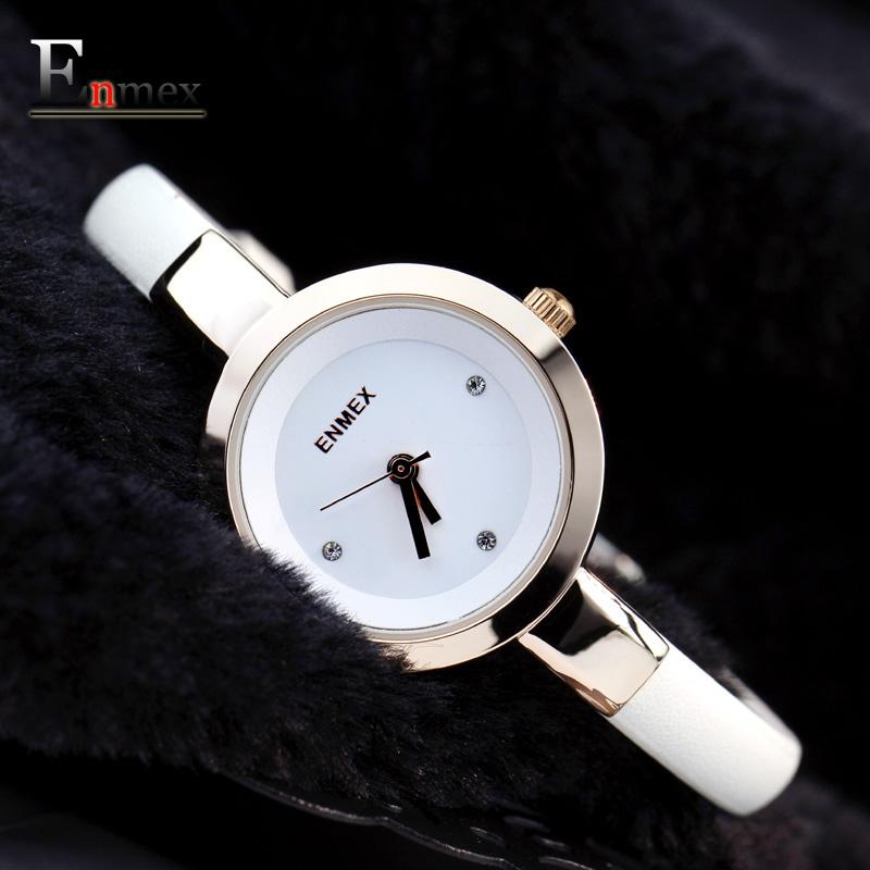 中秋礼物Enmex 可爱女人精致轻薄手表女纤细优雅气质时装女表