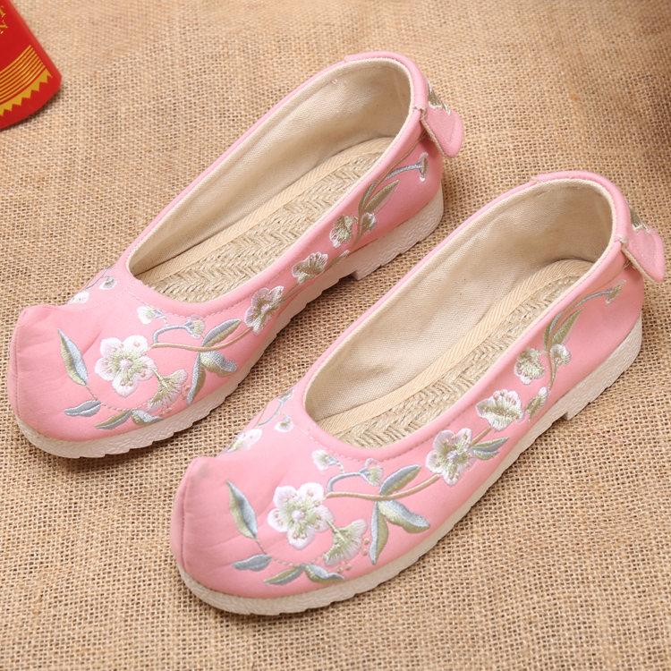 b79af4509371 Hanfu with old Beijing shoes embroidered shoes show dancing bow shoes squat  shoes Chinese national wind women s shoes flat