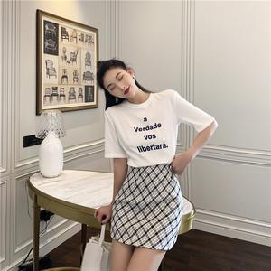 实拍~宽松bf中长款短袖字母印花T恤+半身裙套装6180