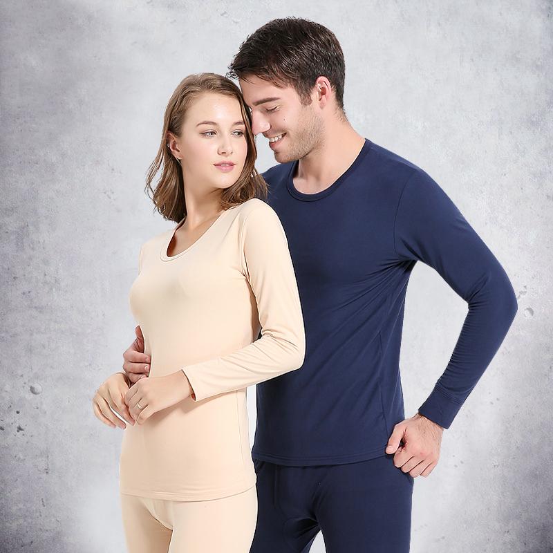 男士女士保暖内衣秋衣秋裤薄款棉毛衫加绒圆领打底情侣保暖套装