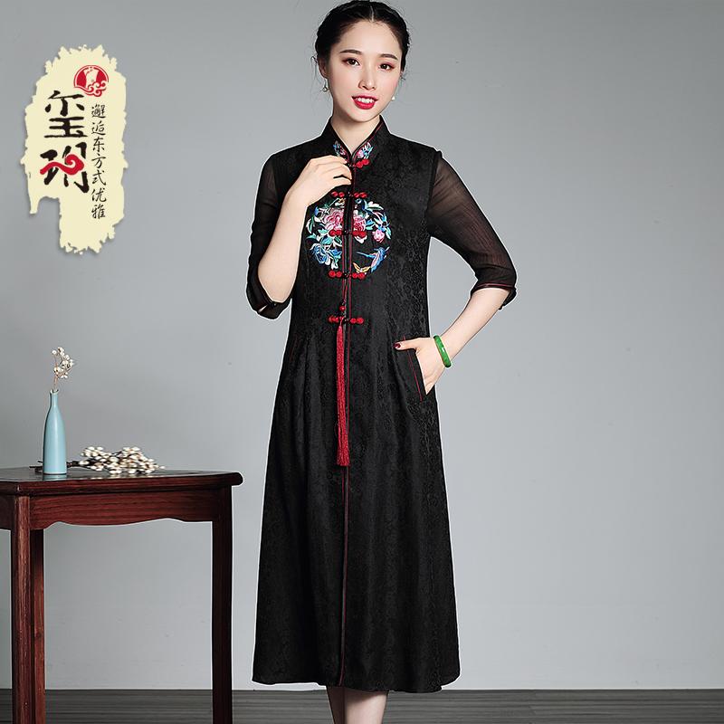真丝中长款修身连衣裙 2018夏季新款香云纱刺绣复古中式女士唐装