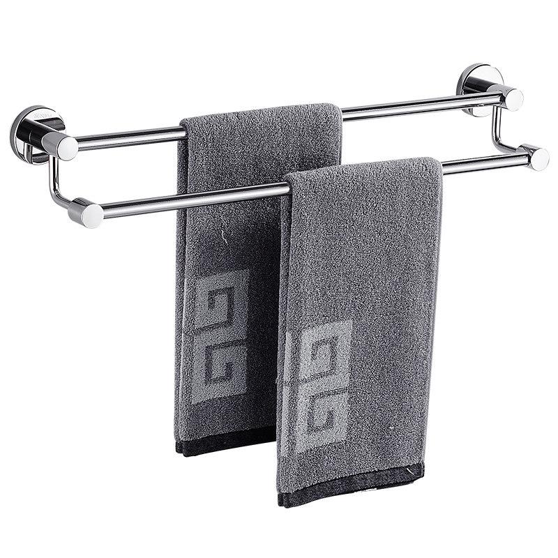 挂毛巾架免打孔卫生间浴室卫生间双杆单杆加长晾毛巾杆304不锈钢