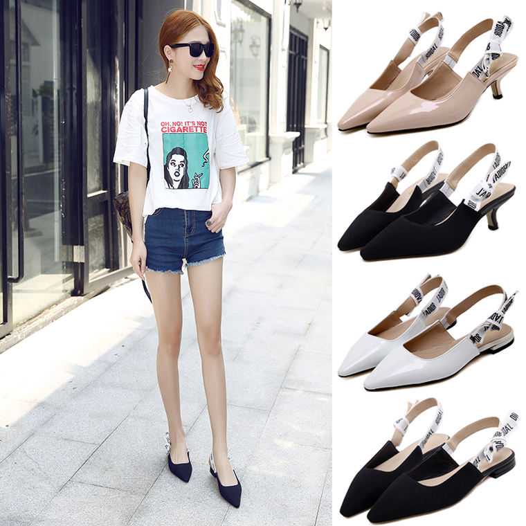9055f85e2442 Sandals female summer 2018 new with wild cats and shoes female letters shoes  bow tie flat