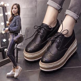 松糕鞋女厚底2017秋季新款韩版小白鞋百搭学生英伦风松糕底女鞋潮