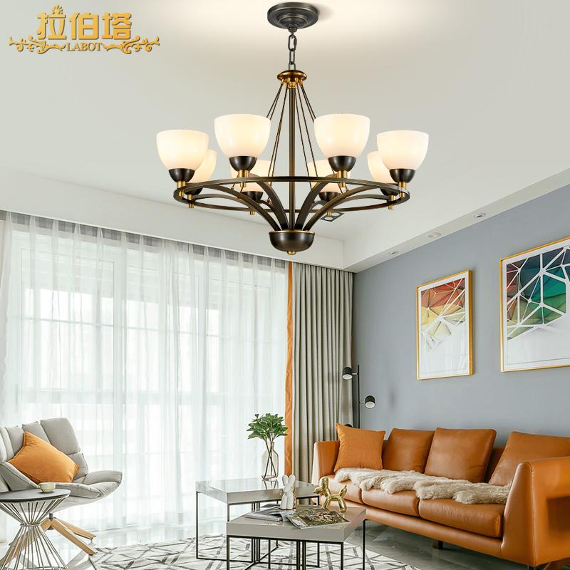 拉伯塔北欧后现代全铜吊灯美式简约客厅餐厅黑色别墅楼梯卧室灯具