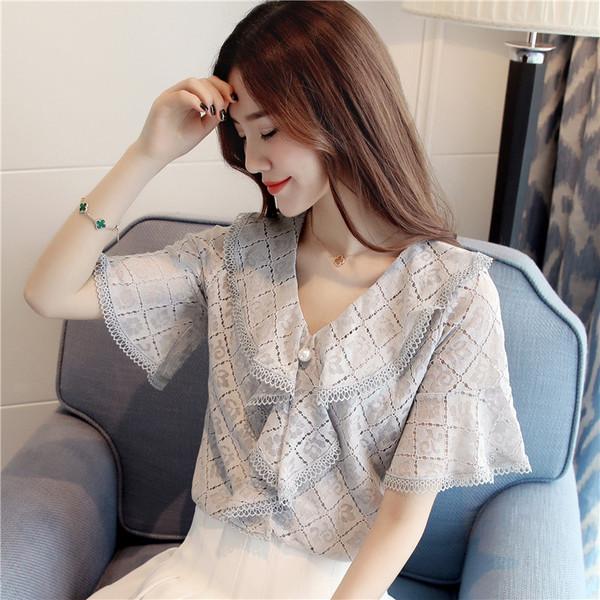 实拍195#2018夏季新款韩版修身V领短袖蕾丝衫女上衣百搭小衫雪纺/蕾丝衫