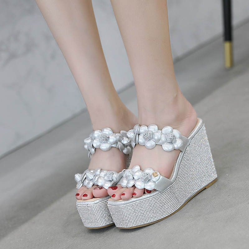 Bohemian High Heel Female Slippers Summer Chunky Sandal