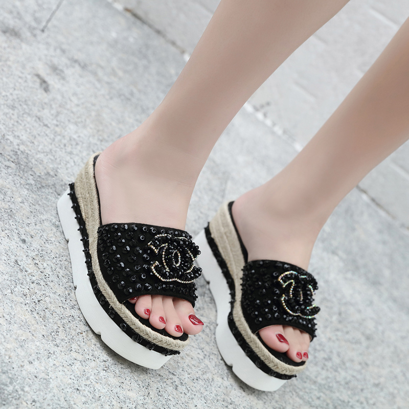 category/Shoes/2018 summer new fashion wedge sandals slippers handmade pear...