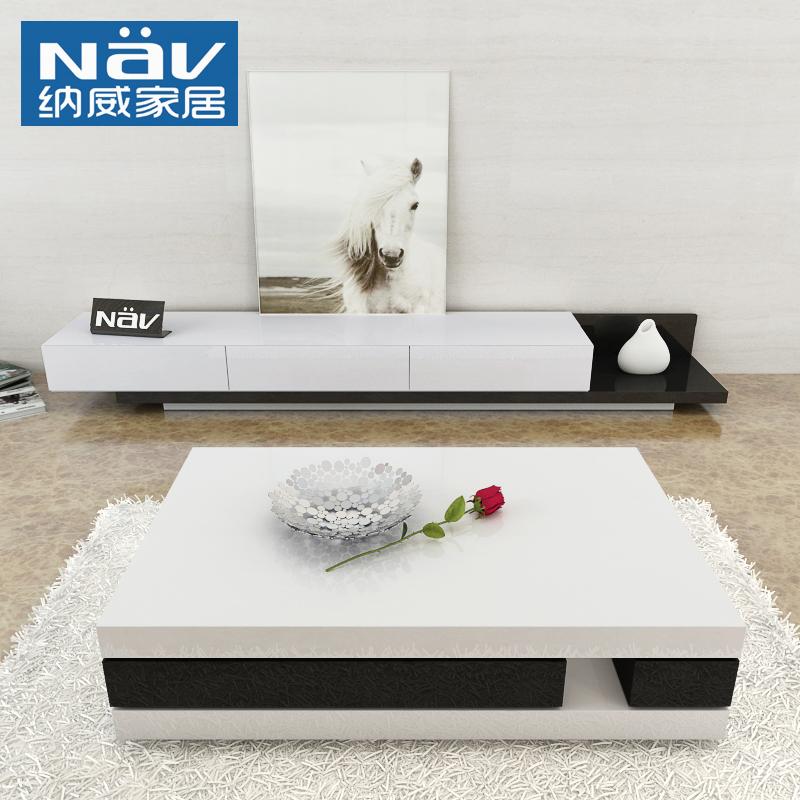 纳威现代简约白色烤漆伸缩电视柜茶几组合小户型客厅整装家具套装