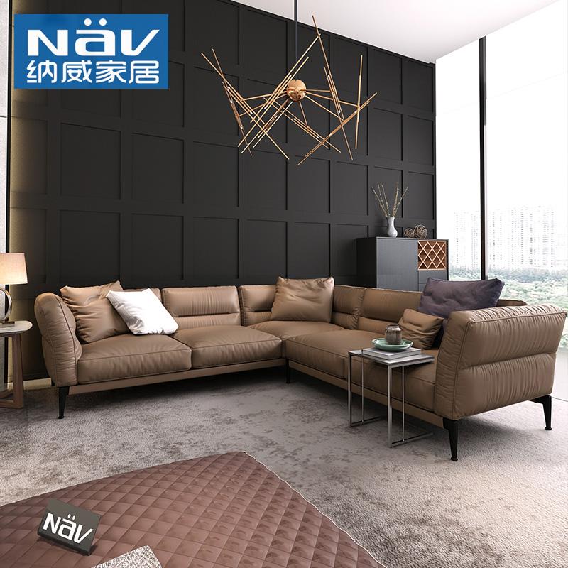 纳威真皮沙发客厅整装北欧皮质沙发棕色头层牛皮小户型高脚沙发