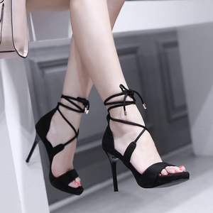 Hot Selling American amd European Sexy Black Ankle Strap Lace up Sandals Hollow out Thin and High Heels party Dress Shoe