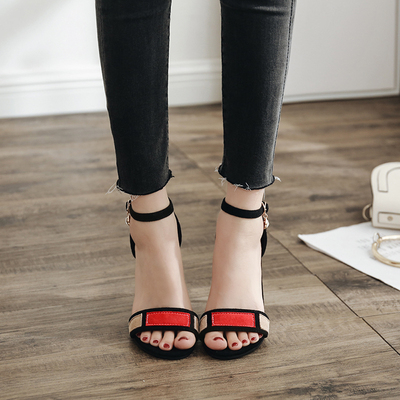In the summer of 2018 the new buckle peep-toe heels spell a word ms color thin and sexy show thin suede sandals's main photo