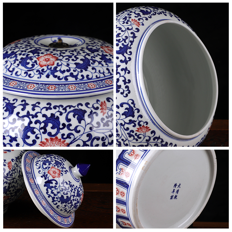 Jingdezhen ceramics antique blue and white porcelain tea storage jar snacks kitchen furnishing articles of Chinese style living room decoration