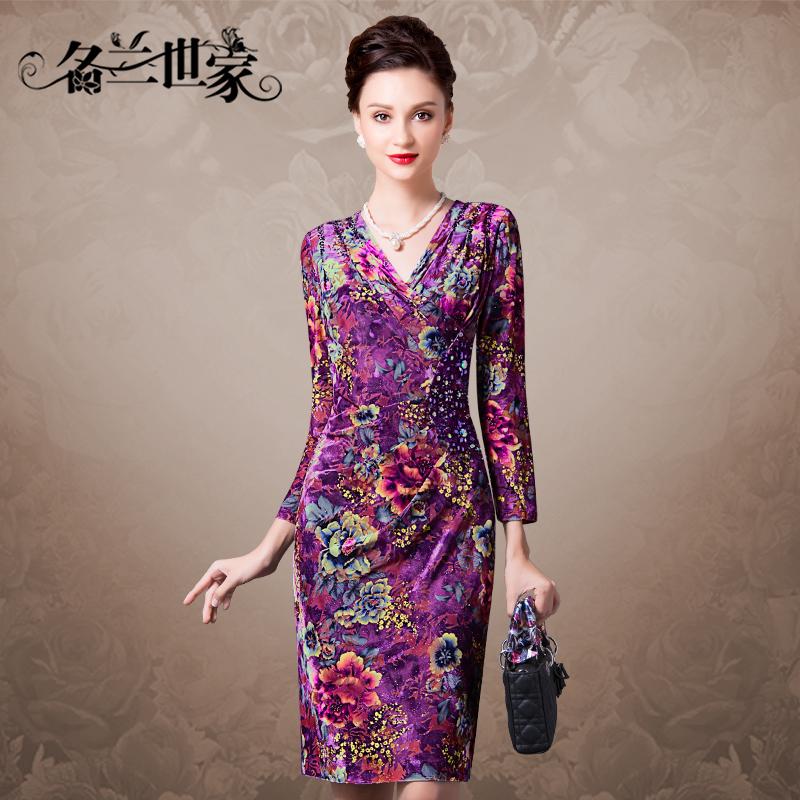 名兰世家女装大码丝绒连衣裙长袖妈妈装时尚修身显瘦包臀优雅中裙