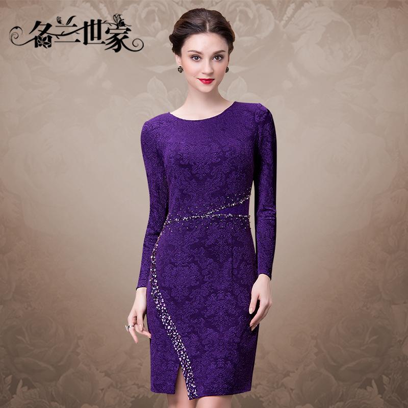 名兰世家婚礼宴会妈妈装礼服婆婆钉珠修身长袖气质连衣裙优雅女装