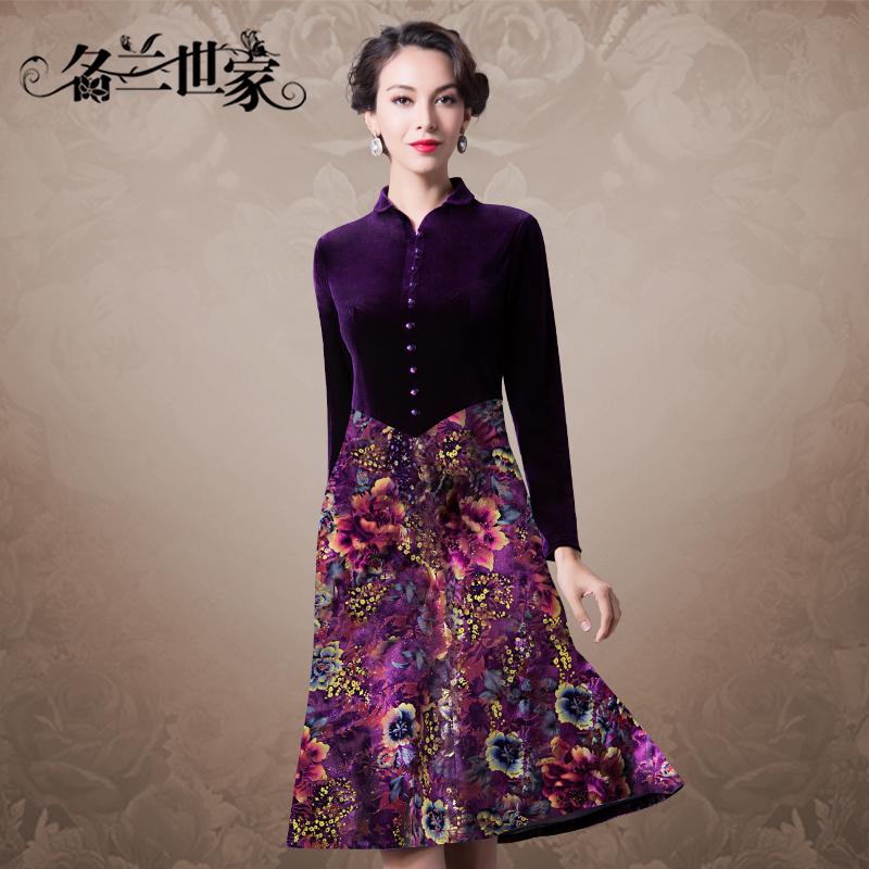 名兰世家春秋新款印花丝绒连衣裙长袖中老年婚宴婚礼妈妈装女装