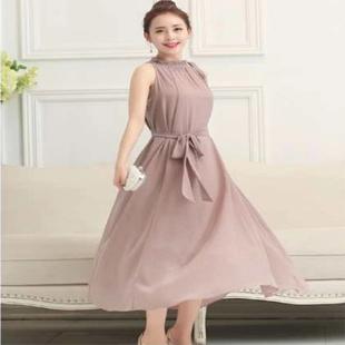 女夏中长款2020长裙气质沙滩裙新款雪纺波西米亚纯色甜美连衣裙
