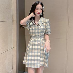 839#实拍2019夏季法式复古气质收腰双排扣系带格子连衣裙a