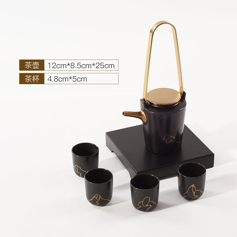 The New Chinese zen ceramic kung fu tea set suit black tea cup tray example room soft adornment is placed