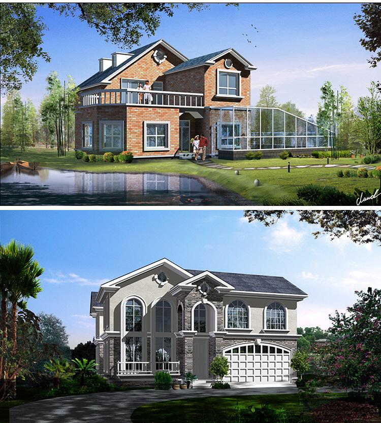 新农村自建房别墅设计图纸一层三层二层cad施工图全套建筑效果图_7折图片