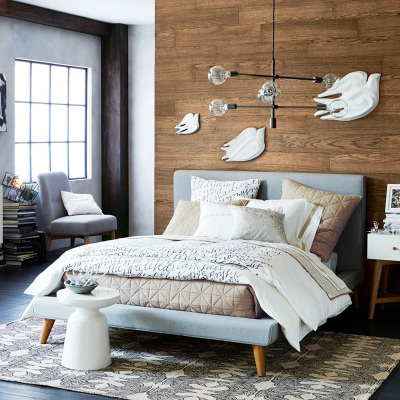 北欧简约1.5米双人榻榻米布艺床现代日式可拆洗软包1.8米棉麻布床