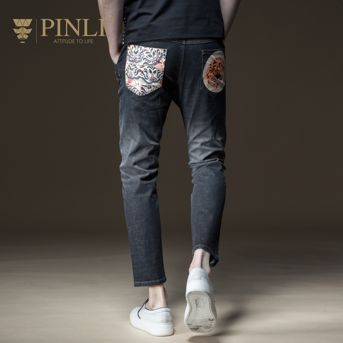 PINLI品立2018夏季新品男装修身破洞印花牛仔小脚长裤B182316477