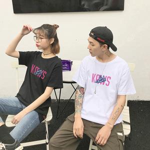 2019夏装新款情侣短袖t恤男韩版全棉圆领趣味卡通女上衣潮流