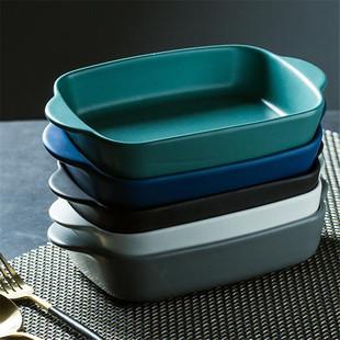 双耳烘培盘陶瓷盘烤箱碗盘 家用西餐盘平盘水果沙拉盘好看的盘子