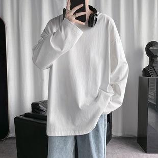 秋冬季纯色白长袖t恤男士纯棉内搭卫衣打底衫秋衣男装短袖上衣服