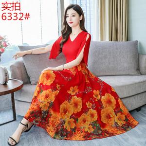 雪纺连衣裙女2019夏季新款贵夫人气质优雅裙子