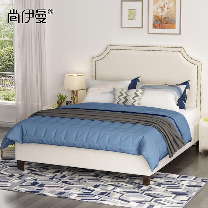 美式布艺床现代简约双人床 主卧1.8米储物床布床婚床小户型北欧床