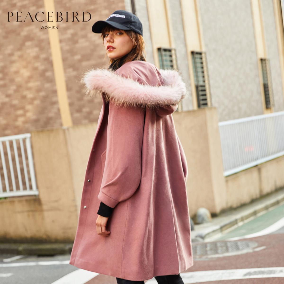 太平鸟毛呢外套女冬装新款拼毛领连帽中长款韩版潮灯笼袖毛呢大衣