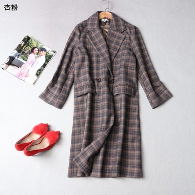 108986 Ming Wei Women's 2017 winter lapel double-breasted long-sleeved plaid trench coat
