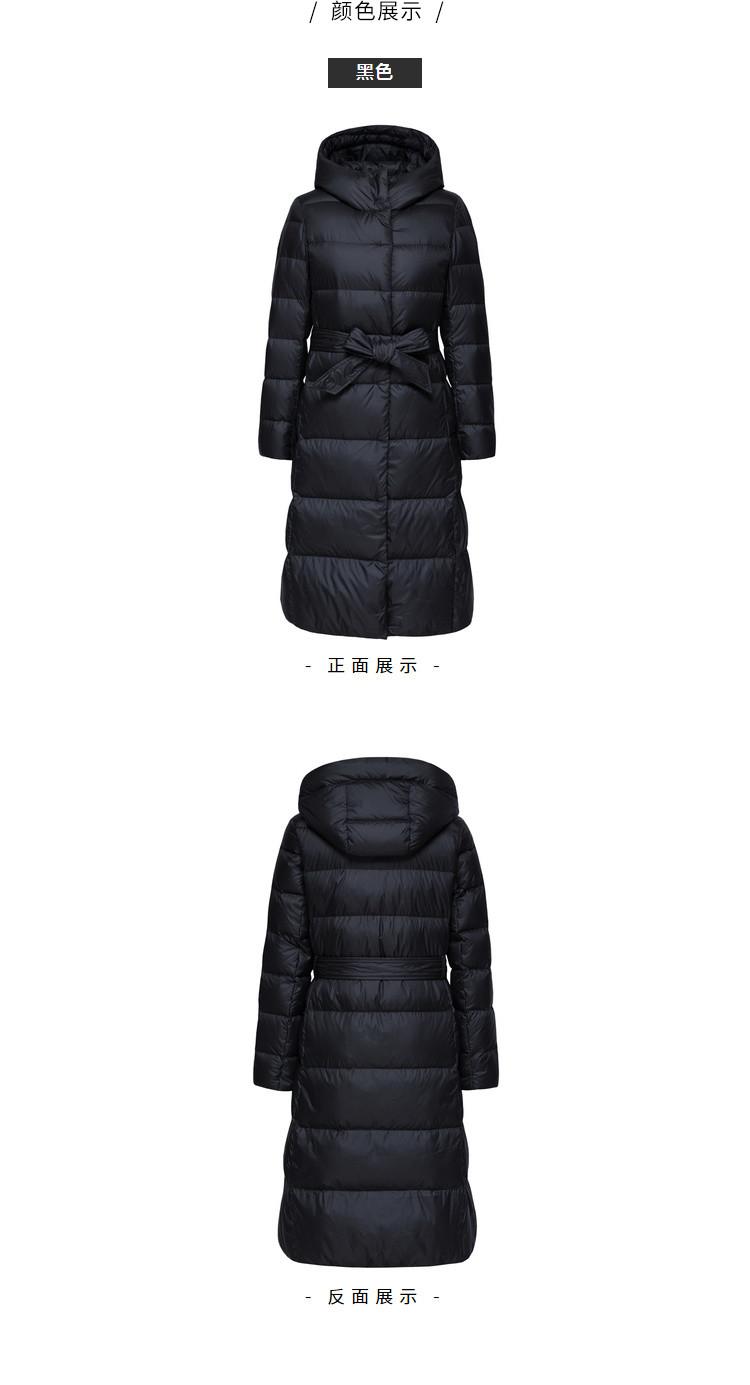 森马女羽绒服2018冬季新款白色中长款过膝收腰显瘦外套韩版修身图片