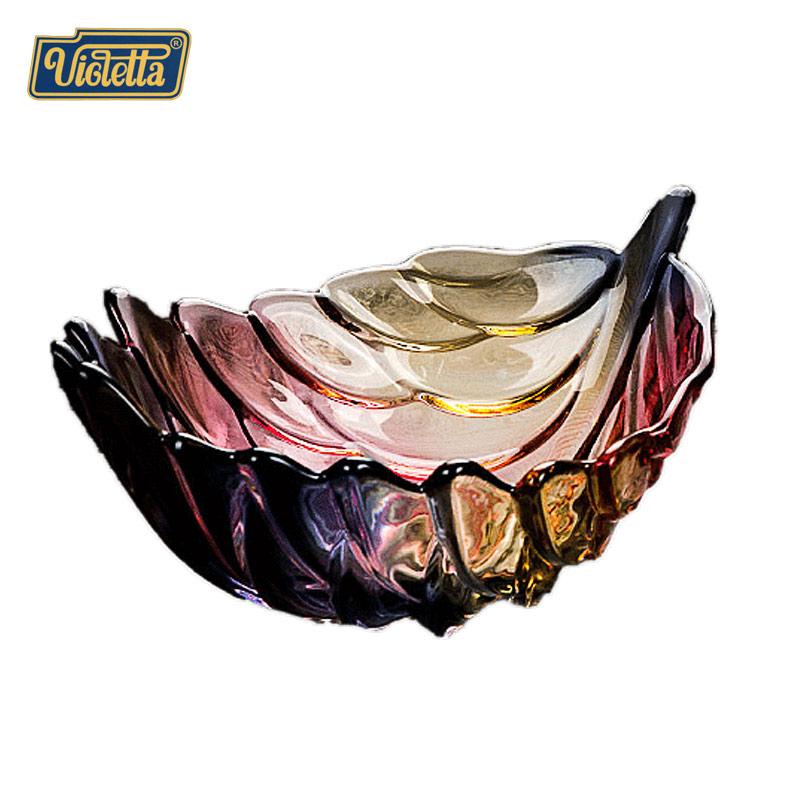 创意彩色羽毛果碗 放水果的大碗 个性琉璃色羽毛大小号套装水果盘