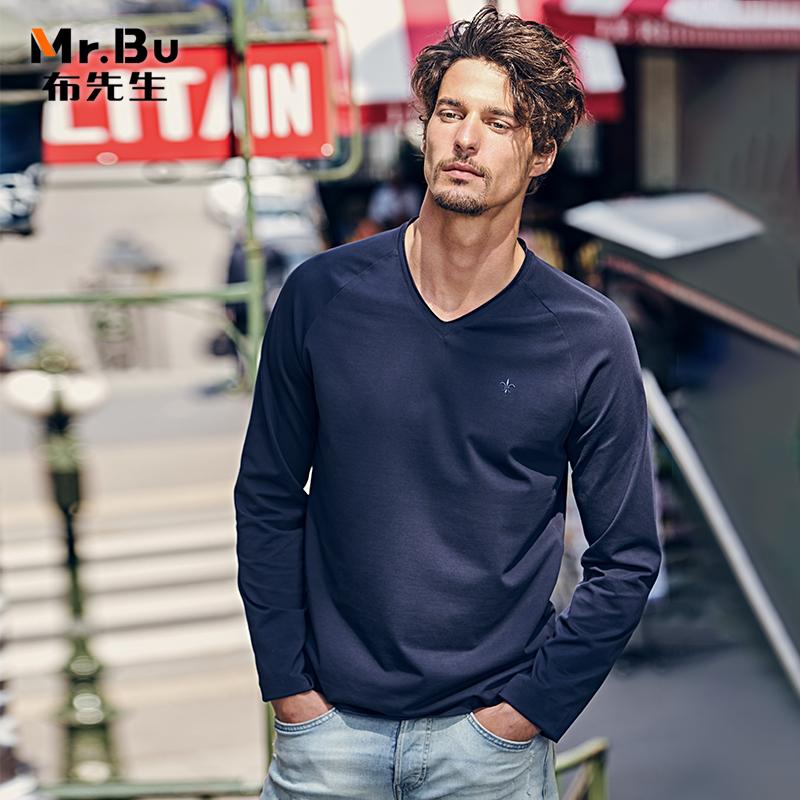 布先生长袖t 2018年秋季新品 都市休闲纯棉V领上衣纯色男长袖t恤