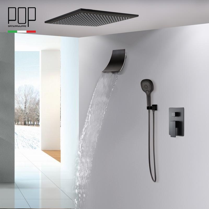 POP卫浴 亚光黑色暗装淋雨喷头套装 入墙瀑布式浴室花洒淋浴套装