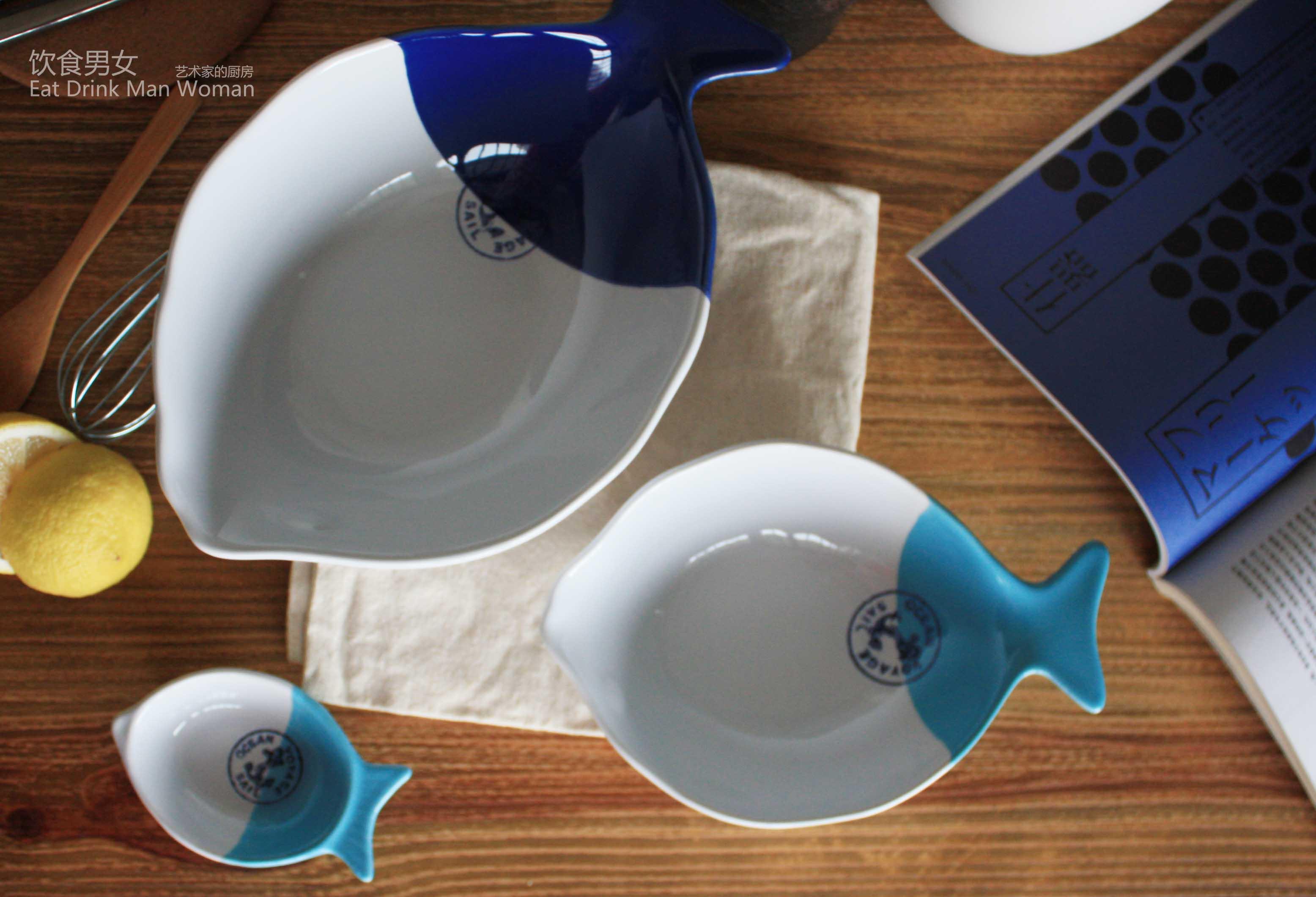 地中海风格海锚印章图案 复古手工双色陶瓷鱼形碗 水果甜品碗碟